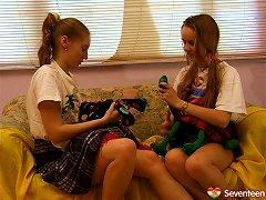 Hairy Teen Girls Showering Together & Playing Around