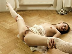 Skinny Ballerina Strips Down And Practices Her Moves In The Nude