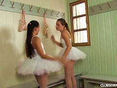 Ballerinas Get Naked And Shower Together While Fucking